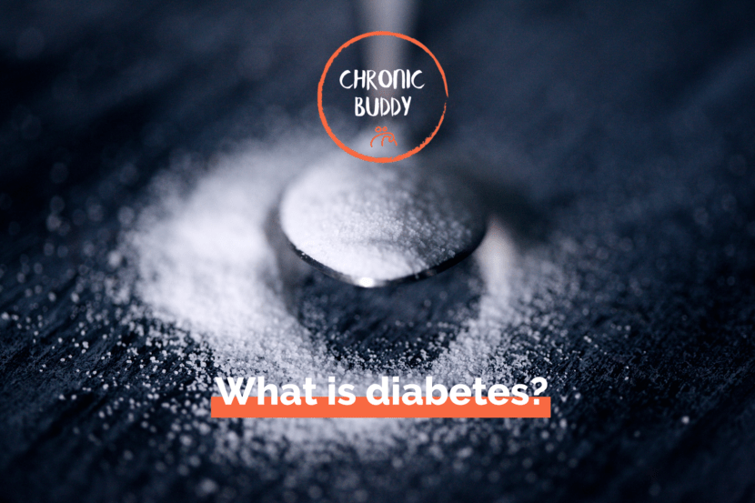 Spoon full of sugar, with the logo of Chronic Buddy and this sentence : what is diabetes?